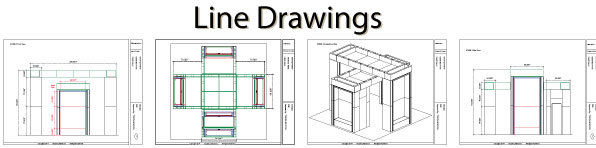 Trade Show exhibit booth concept Line Drawings